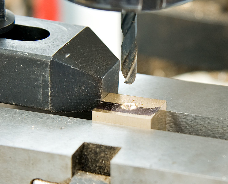 Drilling the bearing blocks for the crankshaft