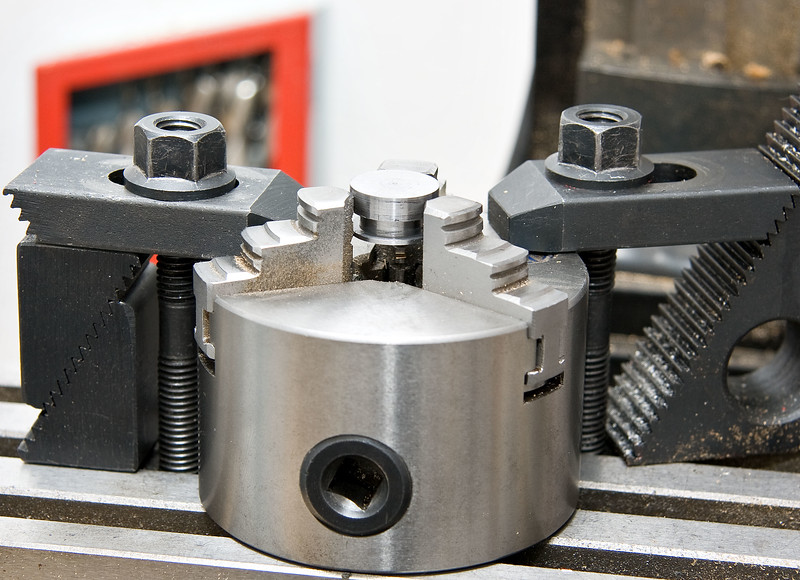 How I clamped the eccentrics to drill the offset hole