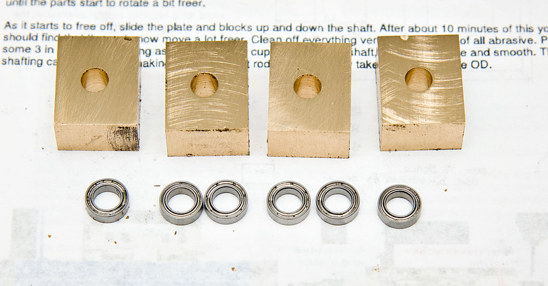 Bearing blocks with ballraces to be fitted