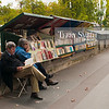 Bookseller stalls, known as Les Bouquinistes, along the Seine river bank of Paris