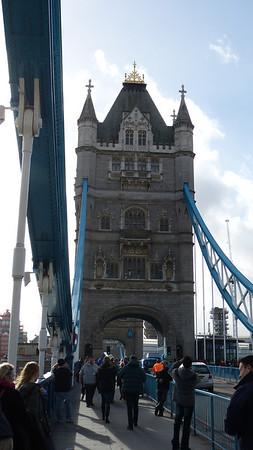 Walking across the London Tower Bridge