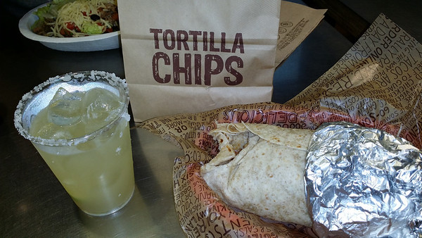 Yum.... steak burrito and a margarita at Chipotle!!!