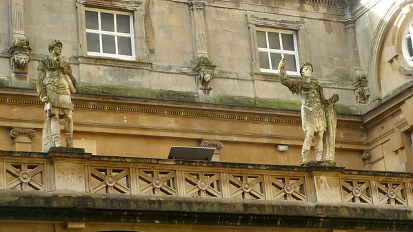 Two remaining Roman statues at the Roman baths