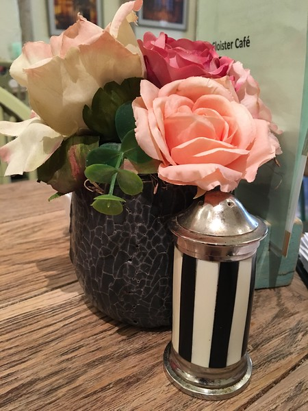 salt shaker and flowers at Cloister Cafe