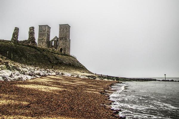 Reculver Towers - 12th Century Church Ruins. Reculver Beach, Kent
