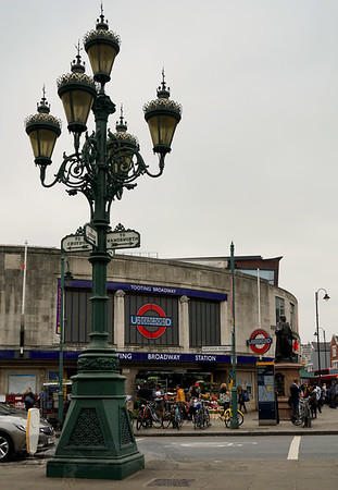 Ornate Victorian Lamp Post Outside Tooting Broadway UndergroundStation