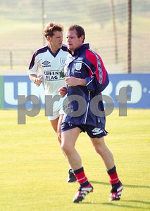 Glen Hoddle and Paul Gascoigne training with the England World Cup Squad at La Manga Club Football Centre, 25th May 1998