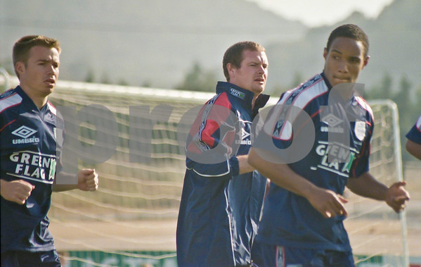 Gareth Southgate, Paul Gascoigne and Paul Ince training with the England World Cup Squad at La Manga Club, 25th May 1998