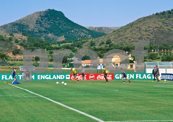David Beckham, Paul Scholes, Sol Campbell, Gareth Southgate and Teddy Sheringham training with the England World Cup Squad at La Manga Club, 25th May 1998