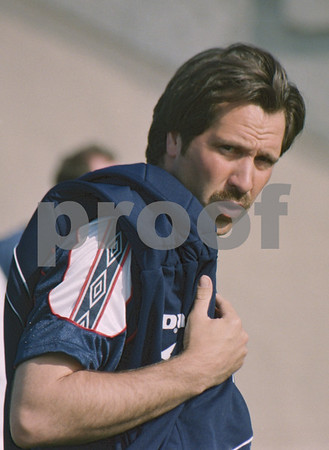 David Seaman arriving for training with the England World Cup Squad at La Manga Club, 25th May 1998