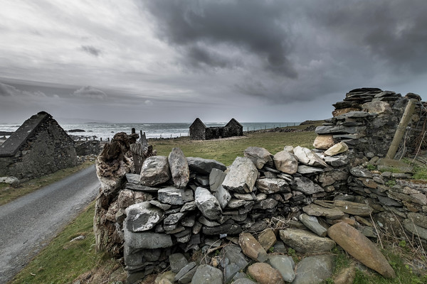 Old Stone Fence and Ocean, Barnabaum Point, Western Ireland