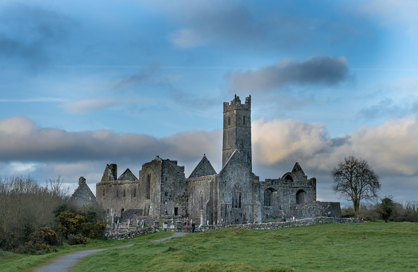 Quin Abbey at Sunset
