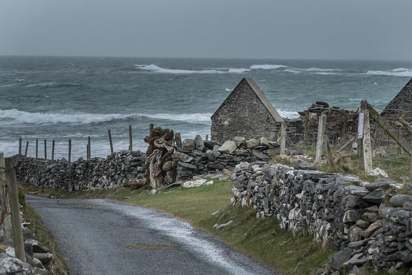 Abandoned Stone Cottage and Stone Fence, Barnabaum Point, Western Ireland