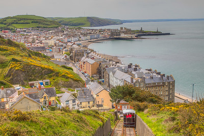 Aberystwyth, Wales, with my parents riding down the Cliff Railway