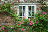 A village home window surrounded by flowers in Avebury, Wiltshire, England, Europe.