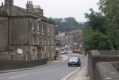 The village of Bakewell. Most of the buildings are made of gritstone, readily available in Derbyshire, especially near the Dark Park to the north.