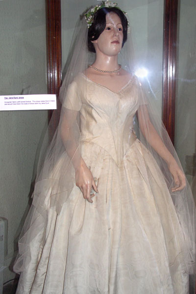 Jane Eyre-style Victorian wedding dress, from the Bakewell Old House Museum