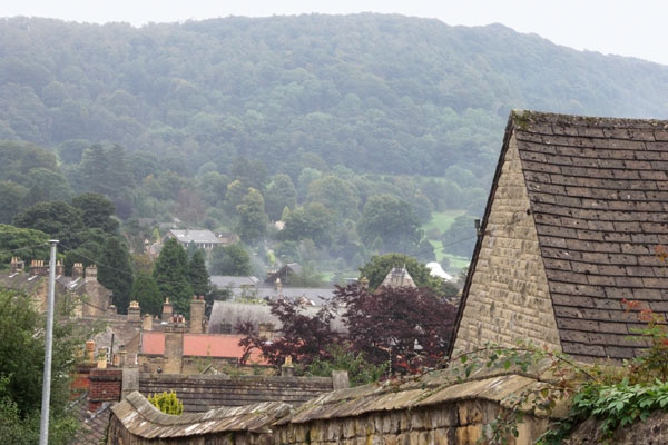 View of Bakewell and the hills of Derbyshire from the hill near the church