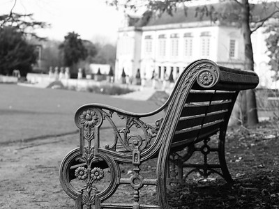 Bench overlooking South Hill Park Centre