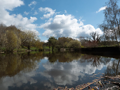 Reflections of clouds in the North Lake at South Hill Park, Bracknell, Berkshire, England, UK