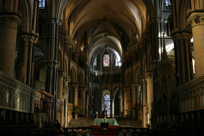 The east end of Canterbury Cathedral, with the high altar and archbishop's throne.