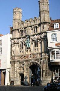 The gate to the precincts of Canterbury Cathedral.  The Cathedral Gate hotel is directly to the right, built into the medieval wall surrounding the precincts.