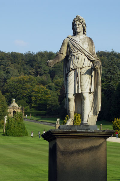 Statue behind Chatsworth, entrance to the garden. This may be the First Duke.