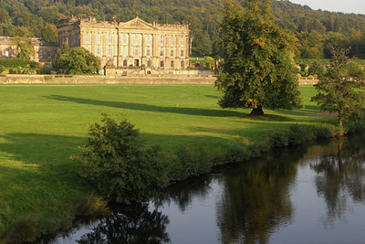 Chatsworth, front view from across a stream