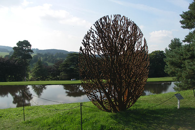 There is a lot of modern sculpture in the Chatsworth gardens. Much of it seems out of place.