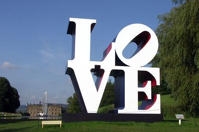 LOVE sculpture behind Chatsworth
