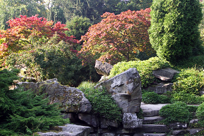 The Wellington rock garden, created by Joseph Paxton in 1840. The Duke of Wellington was fond of it, and so the largest rock was named after him.