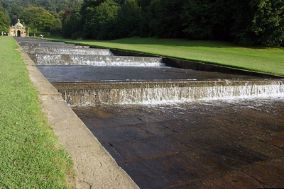 The Great Cascade, also known as the Water Steps. Designed by Grillet (who also designed Versailles) for the first Duke of Devonshire in 1696. There are 24 different water steps up the hill, each designed at a slightly different height and width to vary the sound of falling water.
