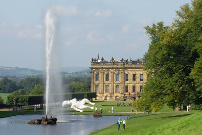 The Emperor fountain behind Chatsworth with a bizarre contemporary baby sculpture. The Canal Pond and Emperor Fountain were created in 1702, and feed off the small manmade Emperor Lake at Chatsworth.
