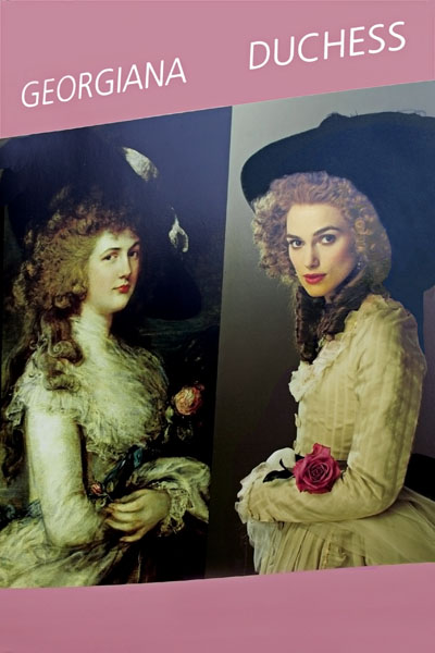 The film the Duchess. On the left is a picture of the famous painting of Georgiana painted in the 1780s, and on the right, Kiera Knightley playing the Duchess. I recently read the biography of Georgiana, who was one of the leading female political activists of the 18th century - and perhaps the greatest promoter of the Whig Party and Charles Fox. The film does not portray this important facet of Georgiana's life but focuses instead on her personal life and her dramatic hats and hairdos.