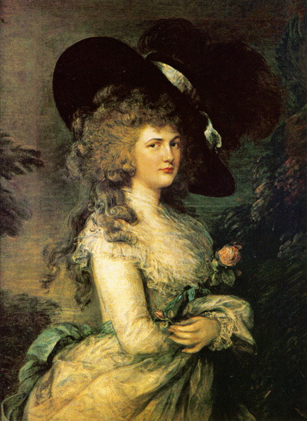 The famous portrait of Georgiana Spencer, the fifth Duchess of Devonshire, by Thomas Gainsborough. Georgiana is the subject of the new film, The Duchess, filmed in Ireland but with a few scenes filmed at Chatsworth. Georgiana lived at her Devonshire home in London, and at Chatsworth, which she renovated in the late 1800s.