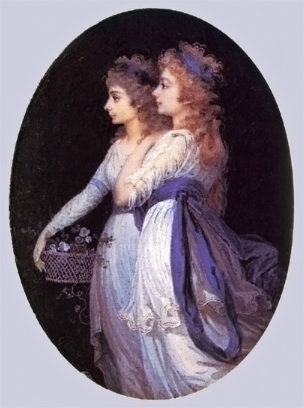 Portrait of Georgiana (front) and Elizabeth Foster (Bess), her closest friend, who lived with her AND was her husband's mistress. I cropped out the original painting from my photo and placed it in a different background. The current film the Duchess melodramatizes their relationship.