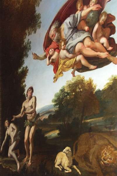 Another painting of Adam and Eve being expelled from Eden. I had to take the original picture at an extreme angle and could not avoid some distortion when stretching it. In my original picture, Adam and Eve's legs were half the height of the photo!