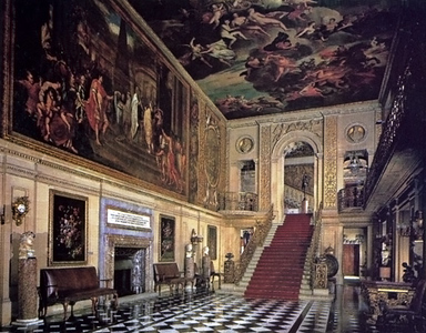 Since I was unable to photograph much of the Painted Hall, I scanned two pictures from the Chatsworth guidebook.