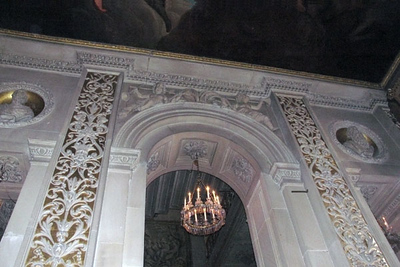 Chatsworth, Painted Hall, above the top of the stairs