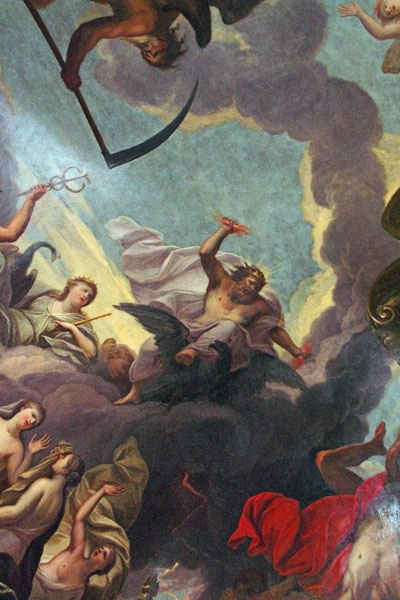 The Fall of Phaethon by Sir James Thornhill, early 18th century, on the ceiling high above the West Stairs. Phaethon is tumbling from the sun chariot, which he recklessly rode, to the dismay of his father, Helios the sun god. This ceiling painting is above the West Stairs.