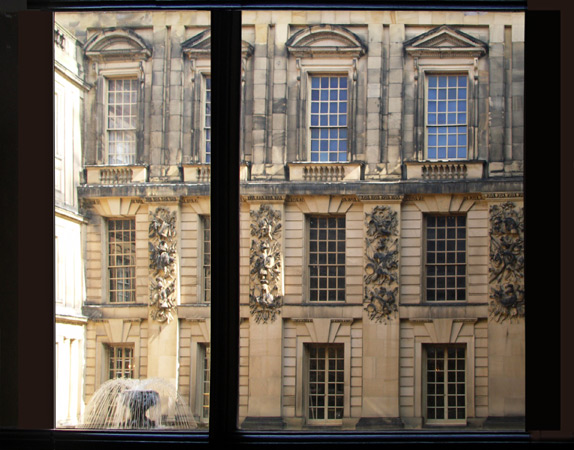 View of the courtyard from inside Chatsworth