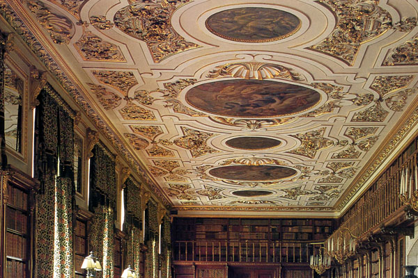Top of the library with ceiling. This photo I scanned from a book on Chatsworth, since the library was so dark I was unable to photograph anything but the ceiling. The library and ante-library house 17,000 books collected over five centuries.