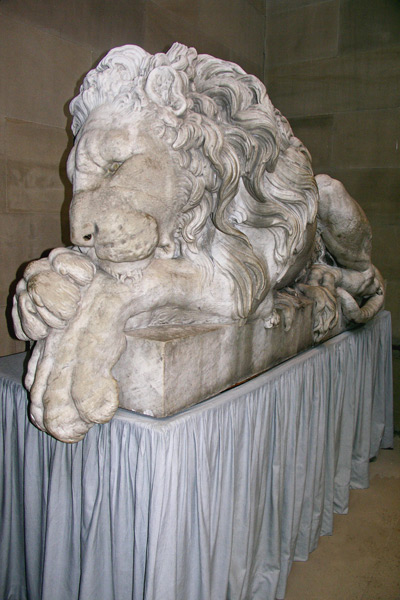 At the end of the Sculpture Gallery are two large lions. This is the Crouching Lion by Francesco Benaglia, commissioned in 1823 by the 6th Duke of Devonshire.