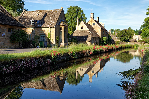 The River Eye flows through Lower Slaughter in the Cotswolds
