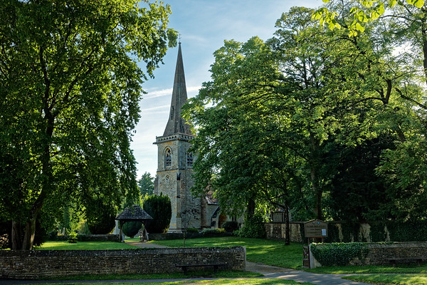 Parish Church of St Mary in Lower Slaughter on summer morning, Cotswolds