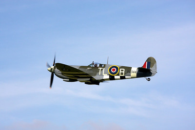 Spitfire at Goodwood Revival flying from the old WWII airfield, RAF Westhampnett