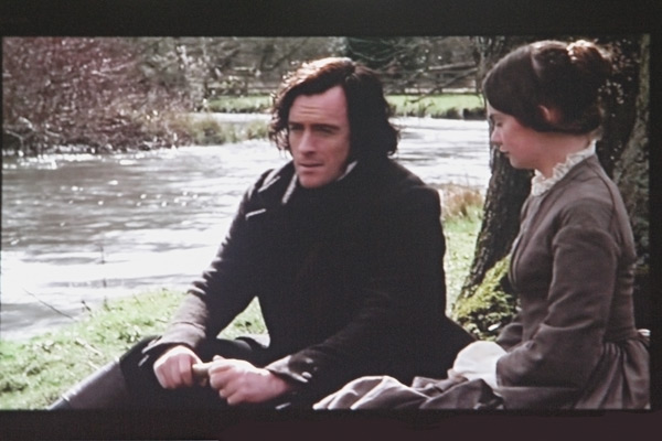One room in Haddon Hall is used to show movies that were made here. This is from the most recent Jane Eyre, this scene filmed on the river Wye below the Hall.