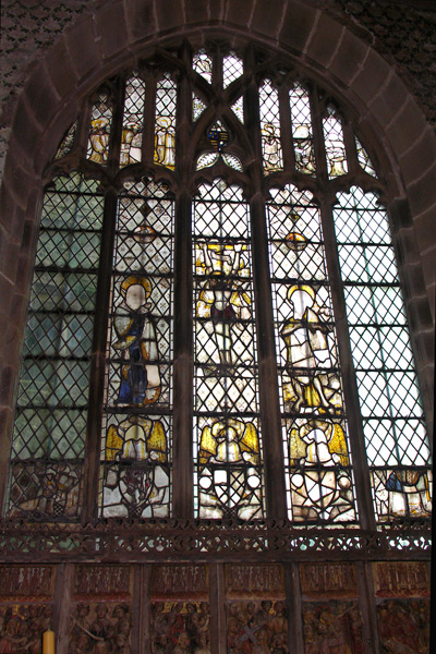 A 15th century stained glass window in the Chapel of St. Nicholas