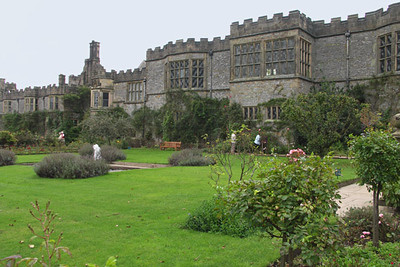 Haddon Hall, view from garden. The Elizabethan garden, inspired by Renaissance Italy, is terraced, with three levels of lawns, bushes and flowers (including 40 varieties of delphiniums).