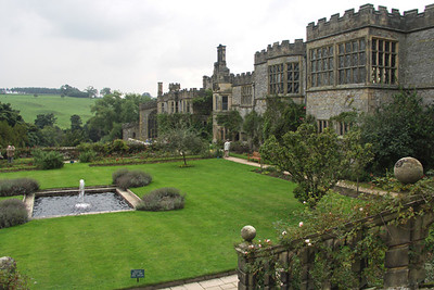 Haddon Hall, view from garden. The fountain is on the bottom terrace.